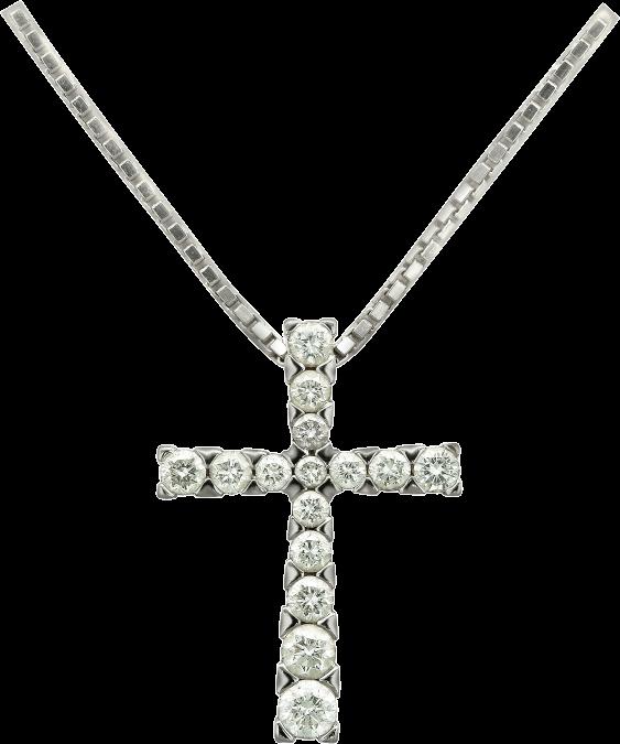 Крест с бриллиантами на цепи