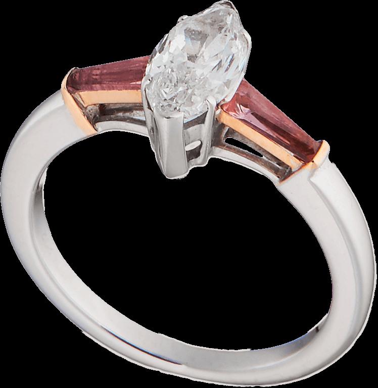Кольцо с бриллиантом и турмалинами